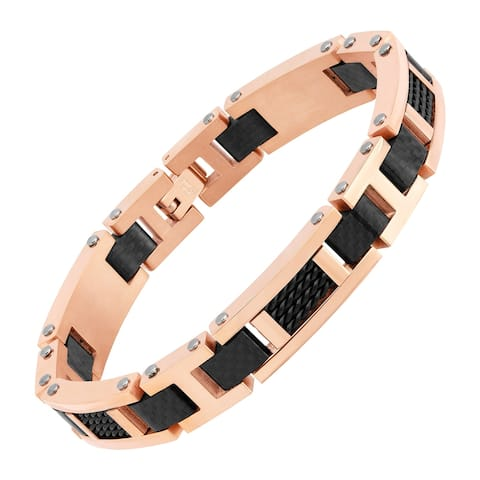 Men's Two-Tone Carbon Link Bracelet in Rose Gold-Plated Stainless Steel