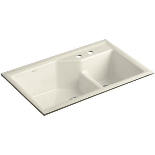 "Kohler K-6411-2 Indio 33"" Double Basin Under-Mount Enameled Cast-Iron Kitchen Sink with Smart Divide"