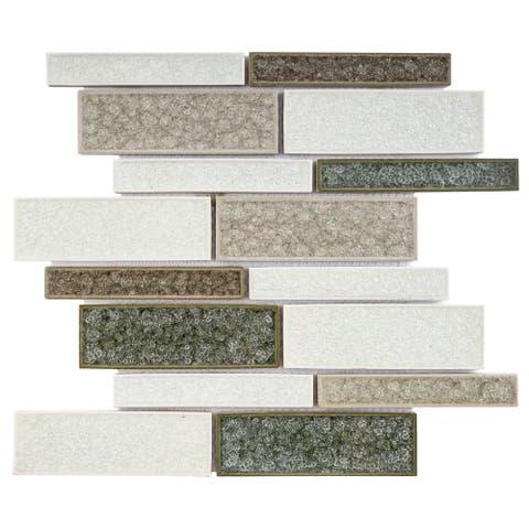 TileGen. Roman Art Mario Random Sized Ceramic in Beige Wall Tile (10 sheets/10.6sqft.)