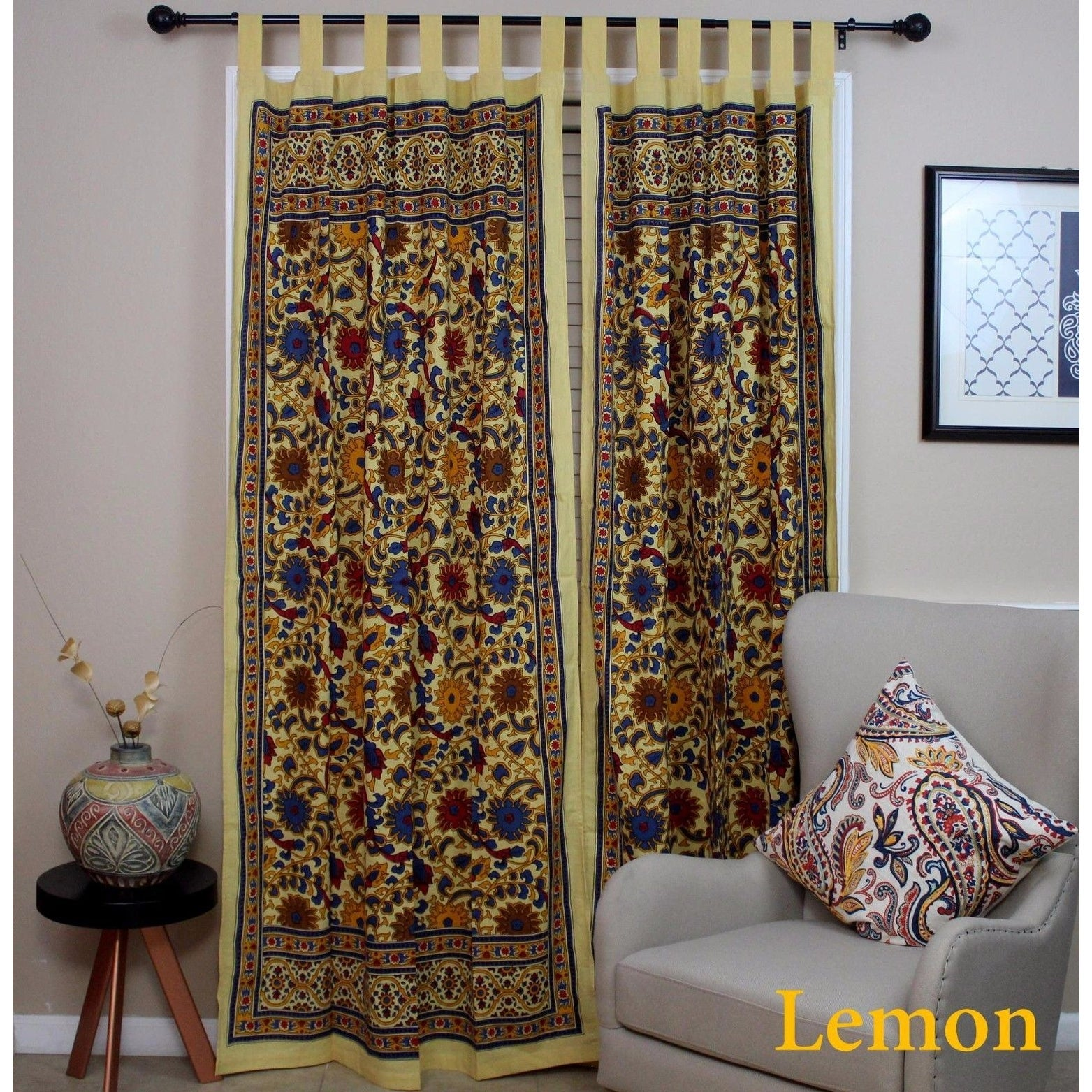 Handmade 100% Cotton Sunflower Floral Tab Top Curtain Drape Door Panel Navy Blue Gray Yellow Black Red 44x88 Inches - Thumbnail 1