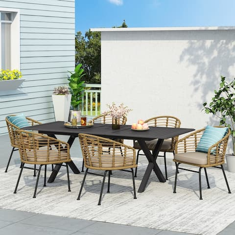 Rogge Outdoor Wicker 7 Piece Dining Set by Christopher Knight Home