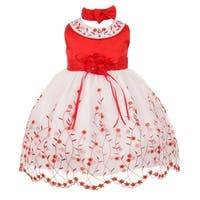Baby Girls Red White Floral Jeweled Easter Flower Girl Bubble Dress 3-24M