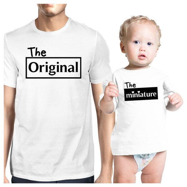 Original And Mini White Dad Baby Boy Shirts Funny Fathers Day Gifts