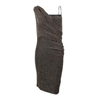 Onyx Nite Women's One-Shoulder Metallic Sheath Dress - Black/gold - 4