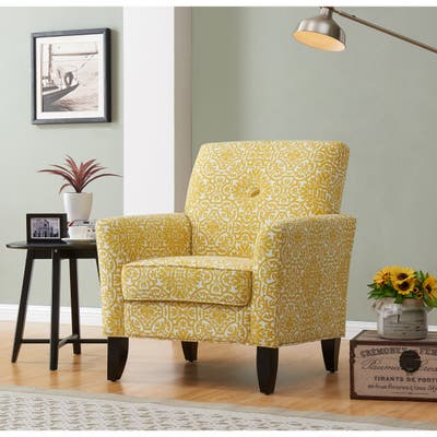 Handy Living Alex Gold Damask Upholstered Arm Chair