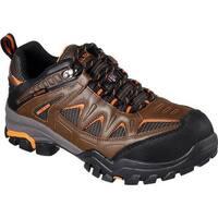 Skechers Men's Work Delleker Steel Toe Waterproof Sneaker Brown/Orange