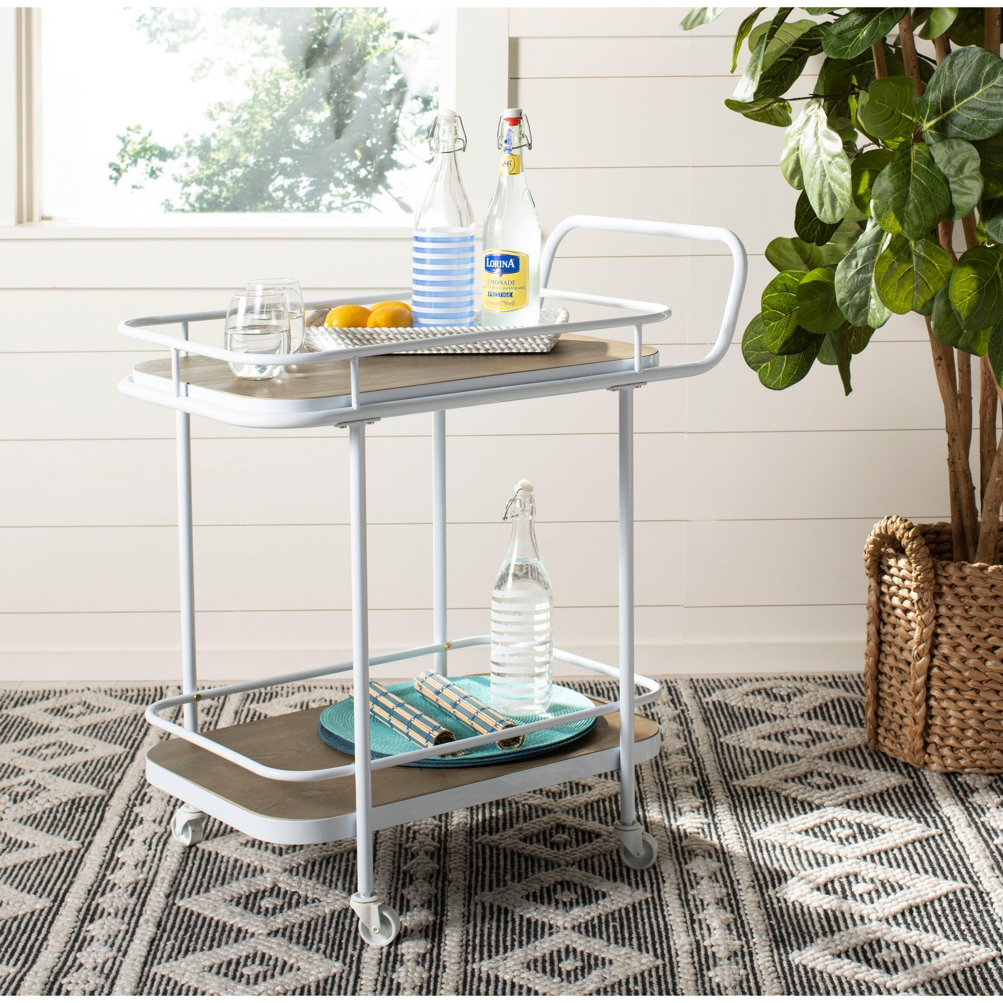 Safavieh Gaia 2 Tier Rectangle Bar Cart Rustic Oak White 30 X 18 X 32 Overstock 23591486