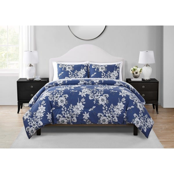 Tahari Home Anouk Blue Floral Comforter Set. Opens flyout.