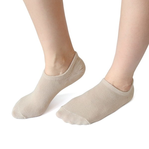 1 Pair Ladies Skin Color Moisturizing Soften Low Cut Gel Heel Boat Loafer Socks - Beige