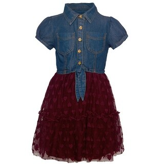 Dollhouse Girls Burgundy Heart Pattern Knot Short Sleeve Dress
