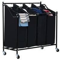 Costway 4 Bag Rolling Laundry Sorter Cart Hamper Organizer Compact Basket Heavy Duty Black