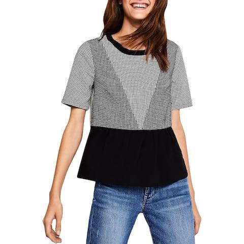 BCBGeneration Womens Top Check Print Short Sleeves