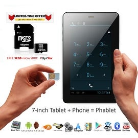 Indigi® 7inch Unlocked 3G Smart Phone 2-in-1 Android 4.4 Tablet PC w/ Built-in Smart Cover + 32gb microSD (Black)