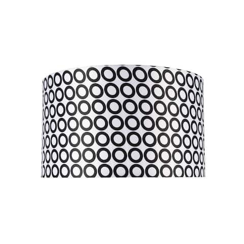 "Aspen Creative Hardback Drum (Cylinder) Shape Spider Construction Lamp Shade in Black & White Geometric Print (17"" x 17"" x 10"")"