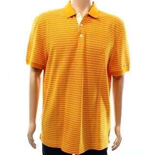 Nautica NEW Orange Mens Large L Mesh Knit Stripe Polo Rugby Shirt