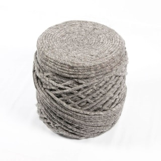 "18"" Gray Wool Guna Decorative Ottoman Pouf"