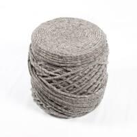 """18"""" Gray Wool Guna Decorative Ottoman Pouf - Brown"""