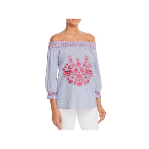 Design History Womens Blouse Embroidered Smocked