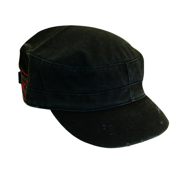 Dorfman Pacific Distressed Cotton Military Cadet Hat
