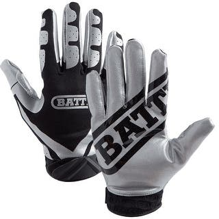 Battle Sports Science Receivers Ultra-Stick Football Gloves - Silver/Black|https://ak1.ostkcdn.com/images/products/is/images/direct/d7785ad8730d136aa06461fa53f879cd4e6f78df/Battle-Sports-Science-Receivers-Ultra-Stick-Football-Gloves---Silver-Black.jpg?impolicy=medium