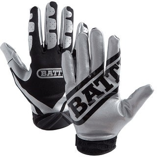 Battle Sports Science Receivers Ultra-Stick Football Gloves - Silver/Black