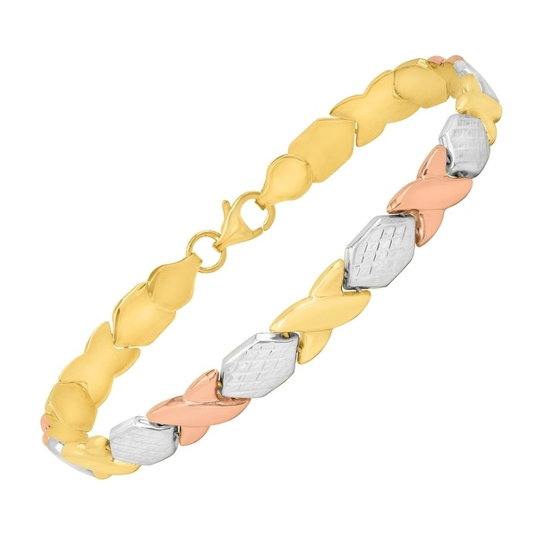 Just Gold 'XO' Link Bracelet in 14K Three-Tone Gold - Tri-color
