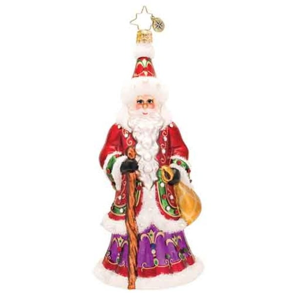 Christopher Radko Glass Northern Father Santa Claus Christmas Ornament #1017516 - RED