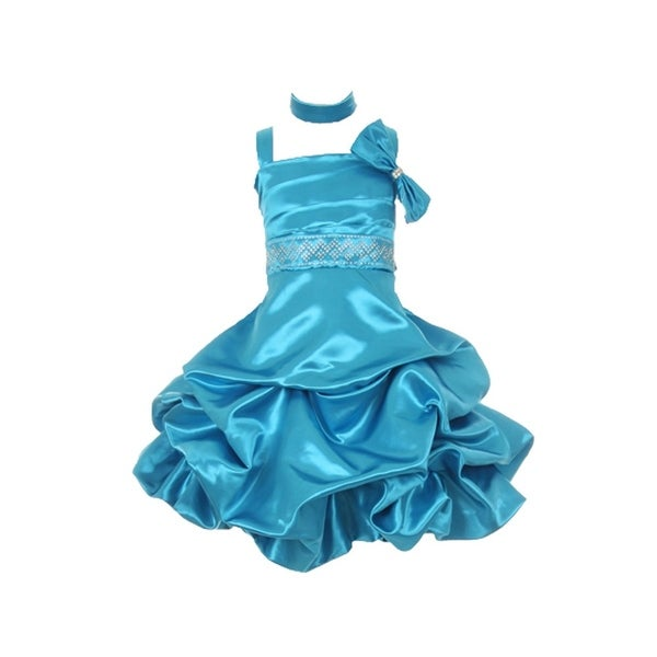 a3cef95a508a Shop Girls Turquoise Jeweled Short A-Line Special Occasion Dress ...