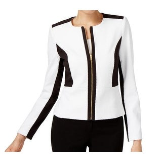 Calvin Klein NEW White Black Women's Size 12 Knit Moto Zip Jacket