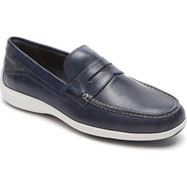 a83ff4e73a3 Rockport Men  x27 s Aiden Penny Loafer New Dress Blues Full Grain Leather
