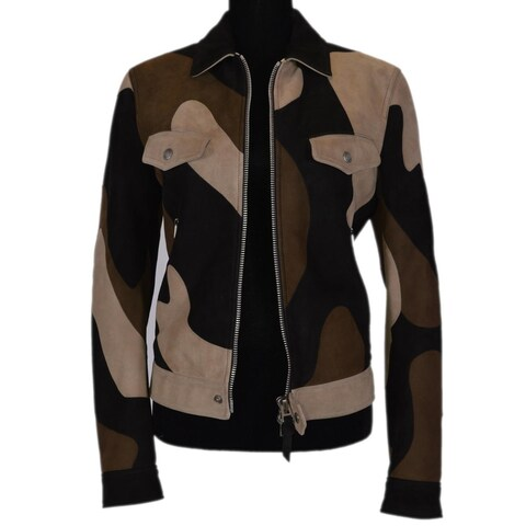 Tom Ford Men's Patchwork Camo Suede Leather Runway Trucker Jacket