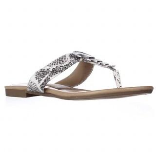 A35 Harlquin Flat T-Strap Sandals - Black/White Python, 7 M US