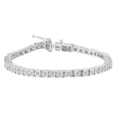 Sterling Silver 1ct TDW Rose-cut Diamond Tennis Bracelet (I-J, I3-Promo)