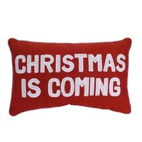 """Set of 2 Red and White """"Christmas is Coming"""" Christmas Rectangular Throw Pillow 18.5"""""""