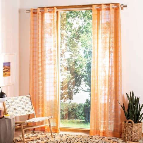 "SAFAVIEH Dafni Orange 96 Inch Single Curtain Panel - 52"" W x 96"" L"