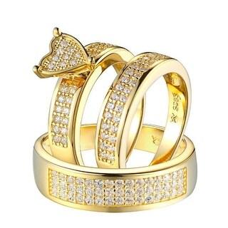Wedding Trio Set His & Hers Gold Tone 925 Silver Heart Design Men Ladies Bridal - Yellow