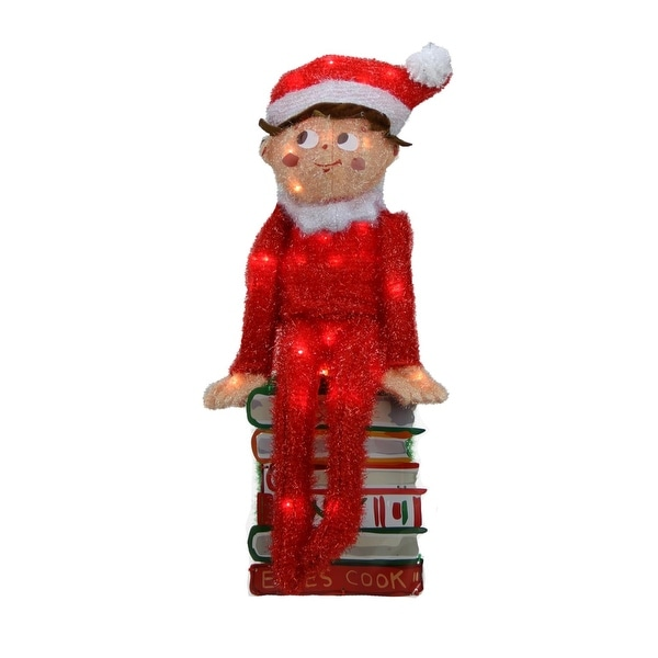 """24"""" Pre-Lit Elf on the Shelf 3-D Sitting Elf on Books Christmas Outdoor Decoration - Clear Lights - RED"""