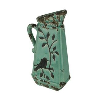 Turquoise Blue Ceramic Crackle Glaze Vintage Finish Bird On Branch Decorative Pitcher - 13 X 6 X 3.5 inches