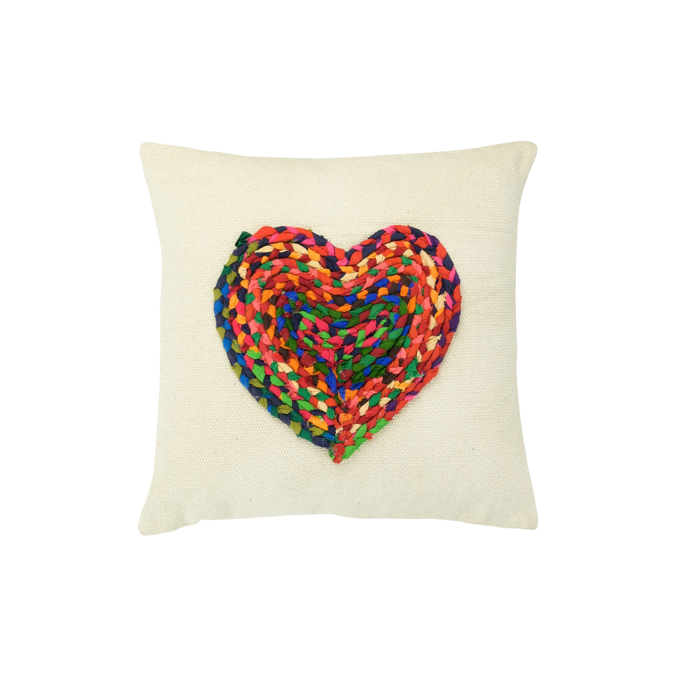 Appliqued Chindi Heart Square Cotton Pillow Overstock 31629245