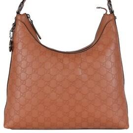 NEW Gucci Women's 339553 Tan GG Guccissima Leather GG Pendant Hobo Purse
