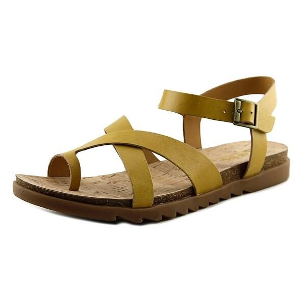 Korks Lyell Women Open Toe Leather Yellow Thong Sandal