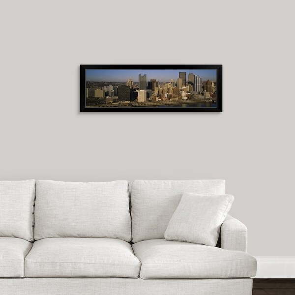 """""""High angle view of buildings in a city, Pittsburgh, Pennsylvania"""" Black Framed Print"""