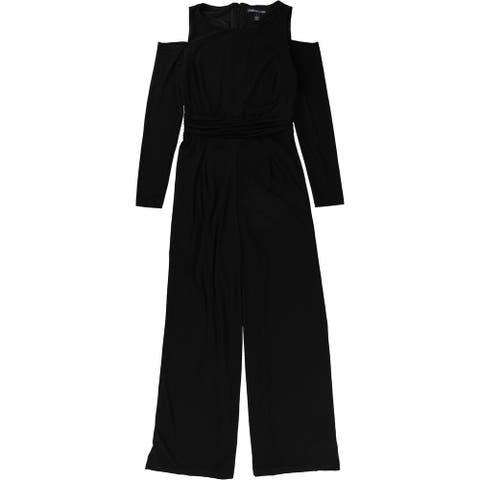 American Living Womens Cold-Shoulder Jumpsuit, black, 8