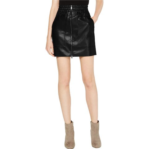 French Connection Womens Faux-Leather Mini Skirt