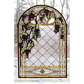 Meyda Tiffany 66048 Stained Glass Tiffany Window from the Jeweled Grape Collection - Mahogany Bronze