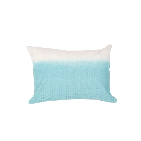 "20"" Icy Blue and Snowy White Two Tone Abstract Pattern Decorative Throw Pillow"