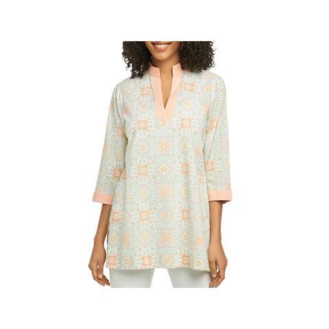 Foxcroft Womens Tunic Top Printed 3/4 Sleeves