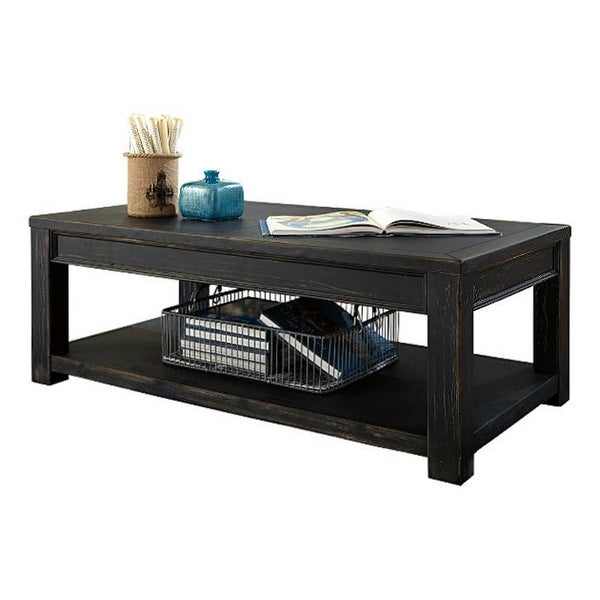 Shop Ashley T732 1 Gavelston Black Rectangular Cocktail Table W