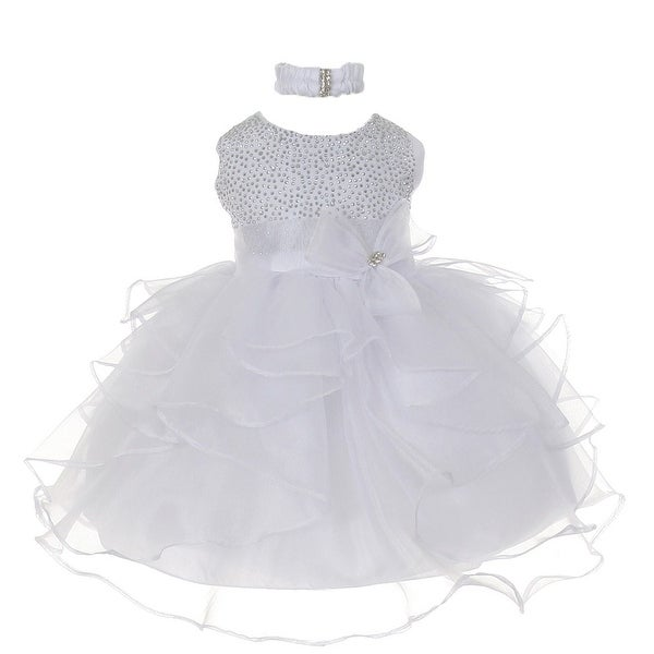 Baby Girls White Organza Rhine studs Bow Sash Flower Girl Dress 6-24M