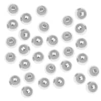 Silver Plated Round Metal Beads 4mm (100)